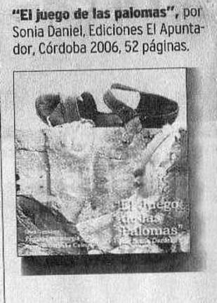 EL JUEGO DE LAS PALOMAS Editada por El Apuntador - Cordoba 2006
